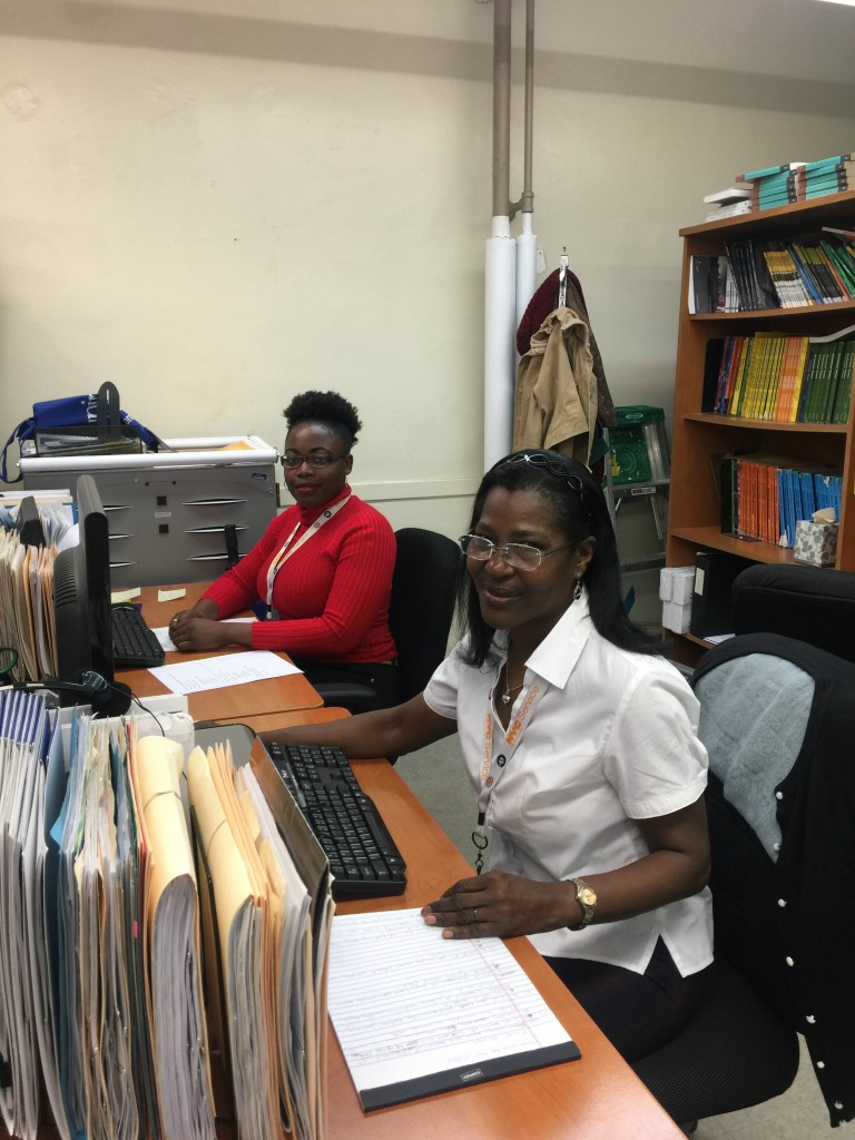 NYC Civic Corps Volunteer Coordinators Gloria Hughes (White) and Woodlynn Sance (Red)